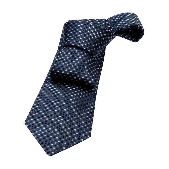 Grey & Navy Foulard Silk Tie