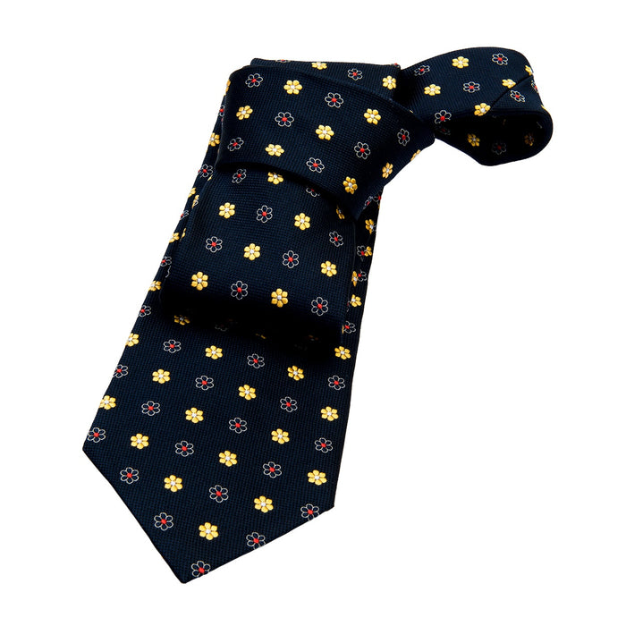 Navy & Yellow Foulard Silk Tie