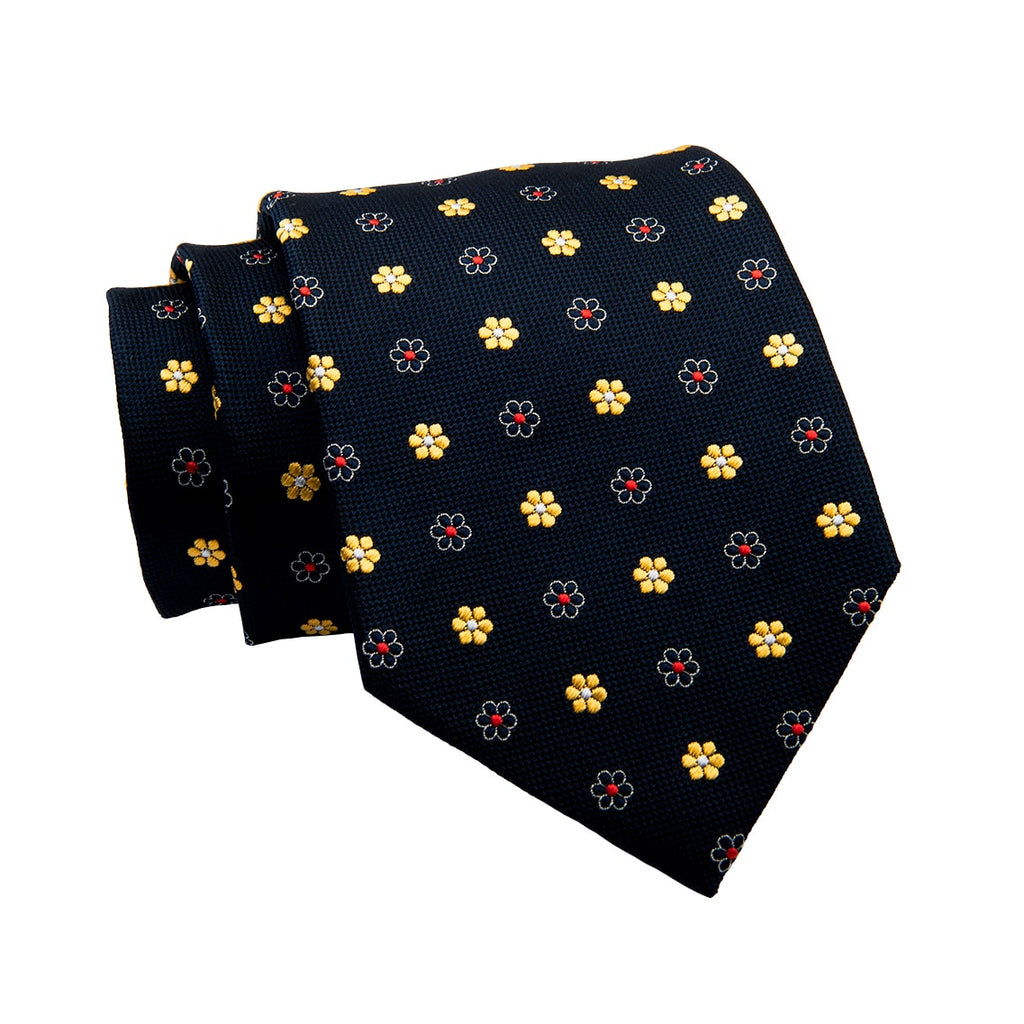 Navy & Yellow Floral Abstract Silk Tie