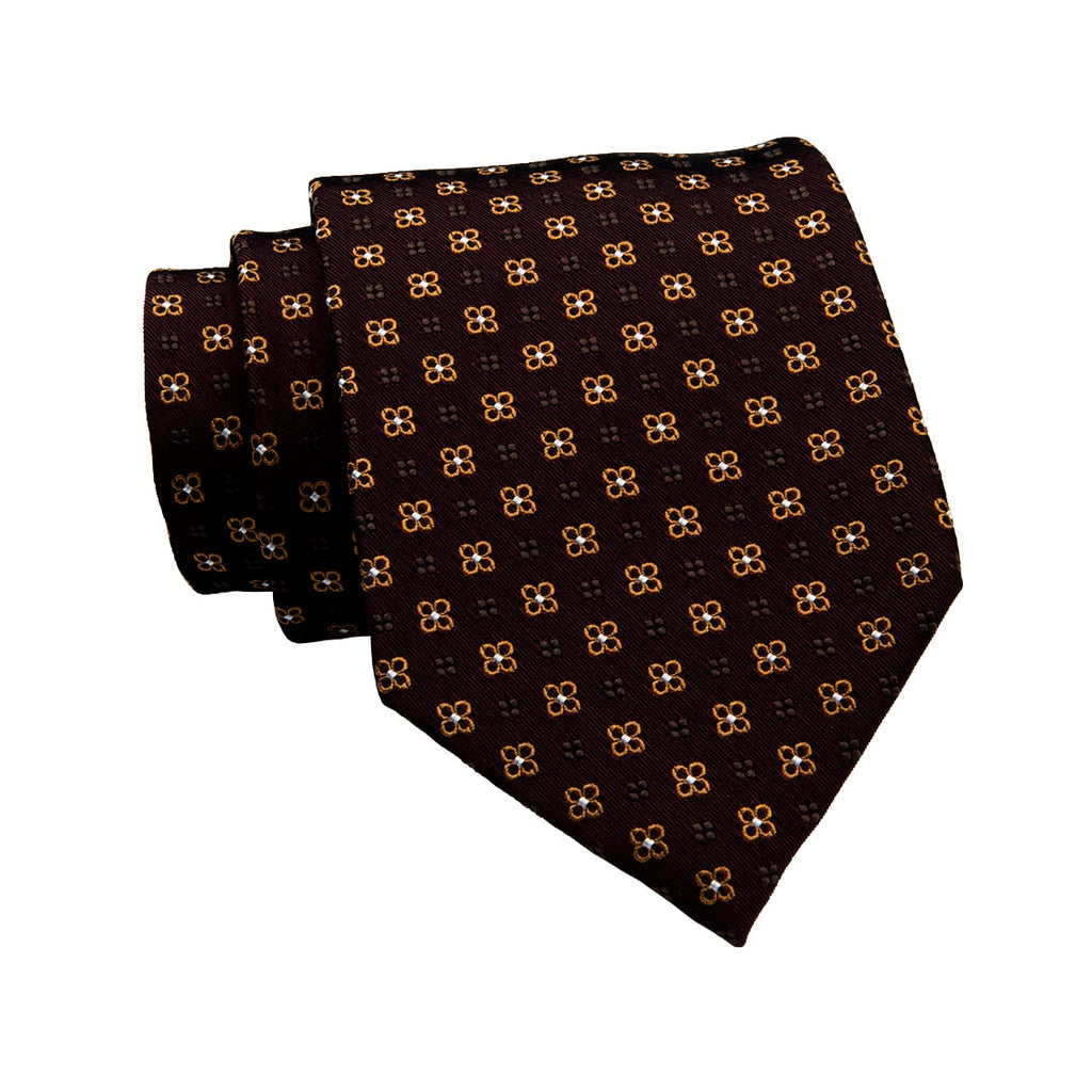 Brown & Gold Foulard Silk Tie