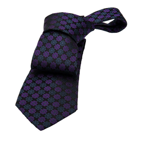Maynard Abstract Silk Tie, Black / Purple