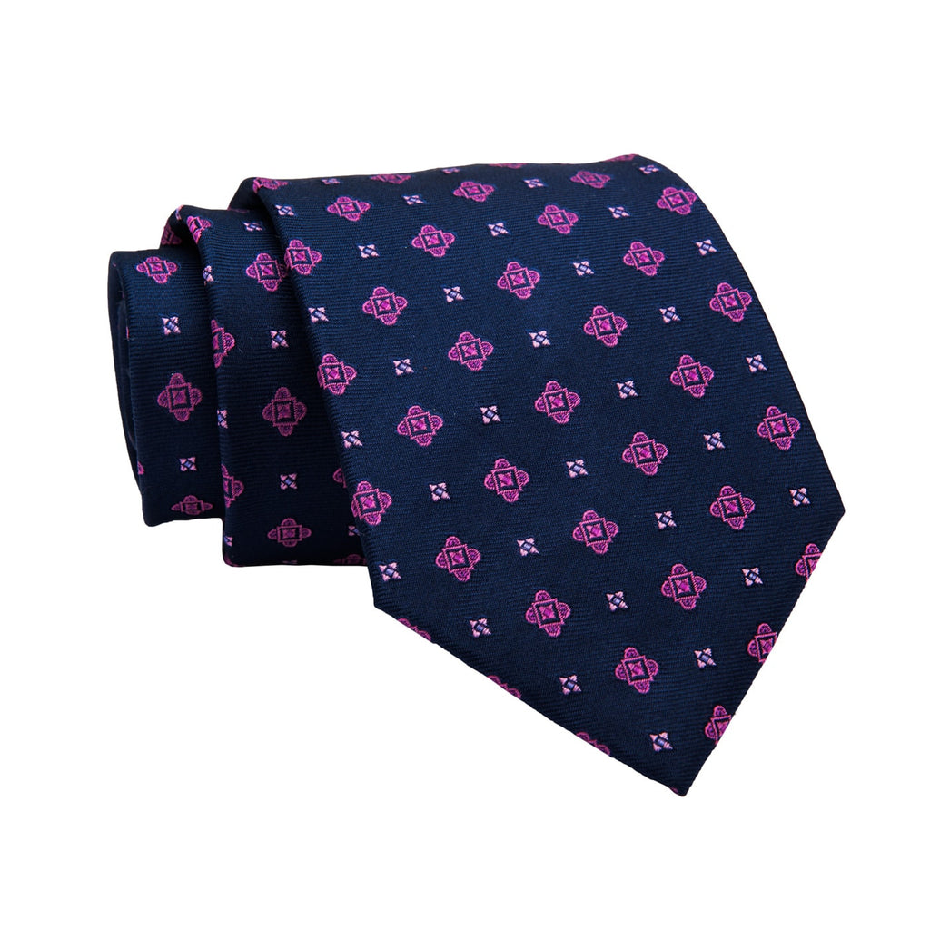 Ashfield Abstract Silk Tie, Navy / Pink