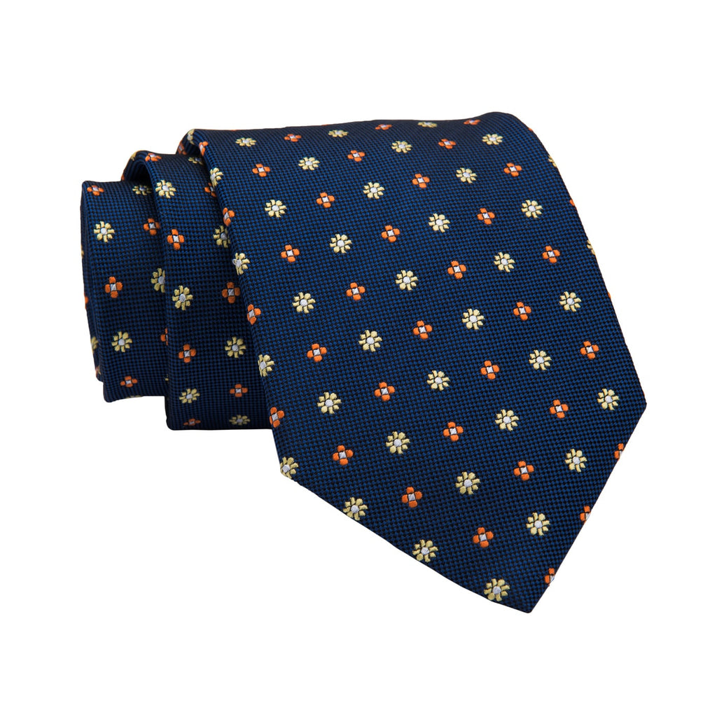 Framingham Abstract Silk Tie, Navy / Orange / Yellow