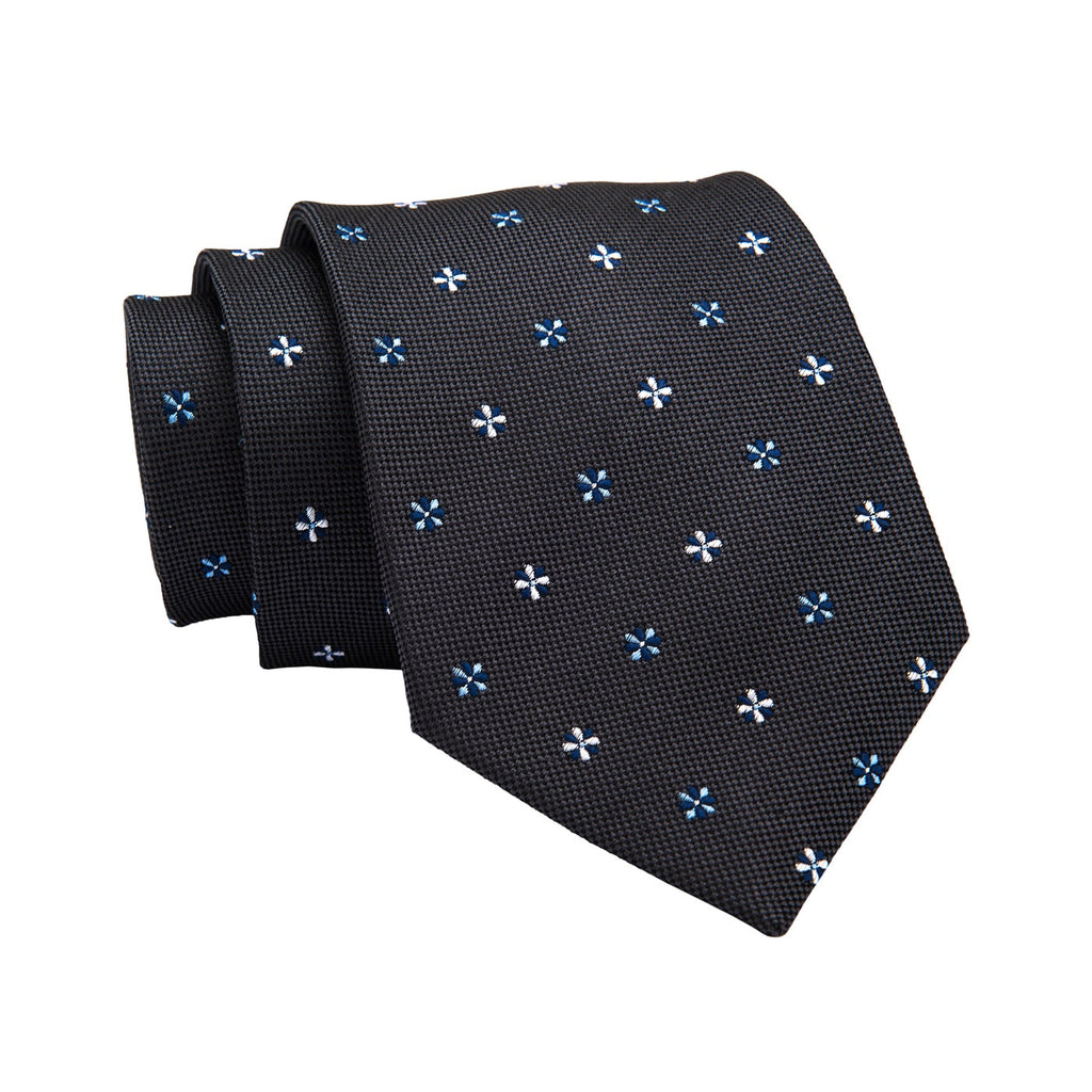 Newton Abstract Silk Tie, Dark Grey / Blue / Silver