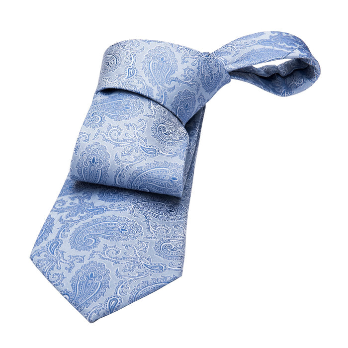 Berkley Paisley Silk Tie, Light Blue / Blue
