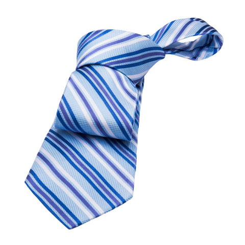 Alford Striped Silk Tie, Blue / Purple / Silver