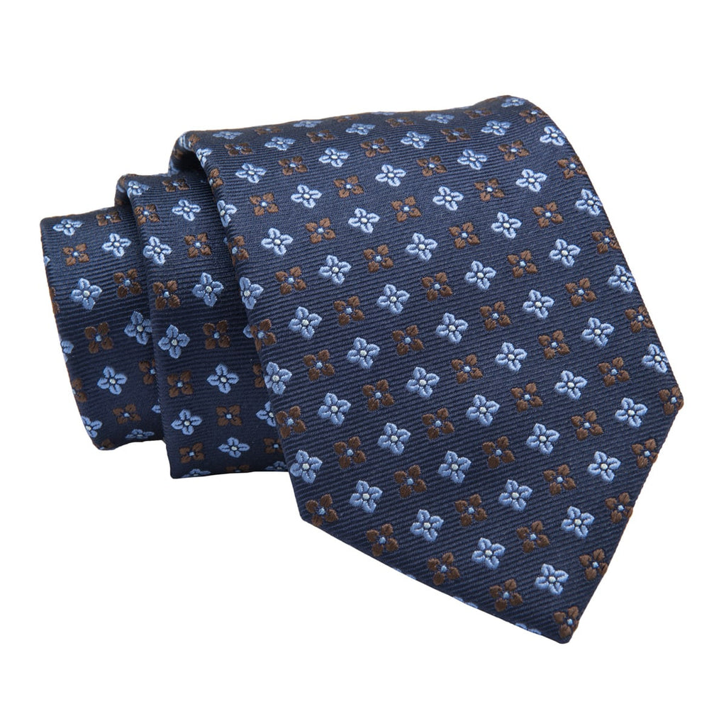 Montgomery Abstract Silk Tie, Navy / Light Blue / Brown