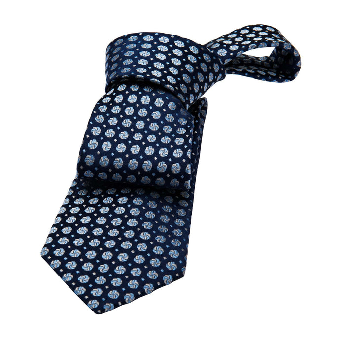 Longmeadow Abstract Silk Tie, Navy / Light Blue / Silver