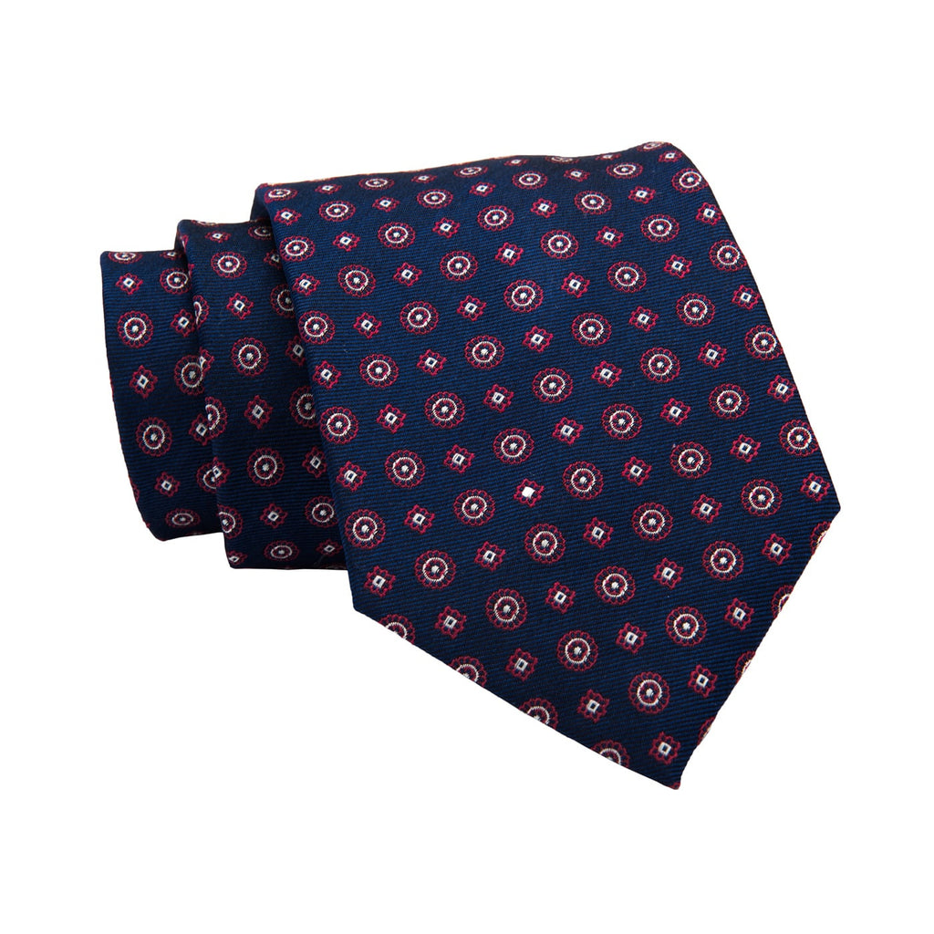 Ludlow Abstract Silk Tie, Navy / Red / Silver