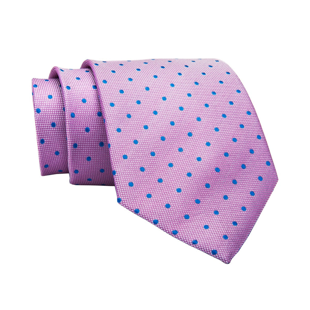Hatfield Polka Dot Silk Tie, Pink / Light Blue