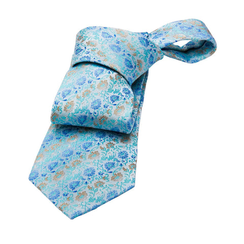 Shanghai Floral Silk Tie, Turquoise / Blue / Grey