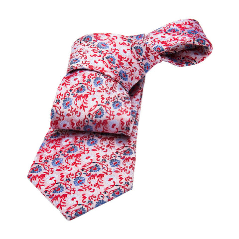Shanghai Floral Silk Tie, Cream / Blue / Red