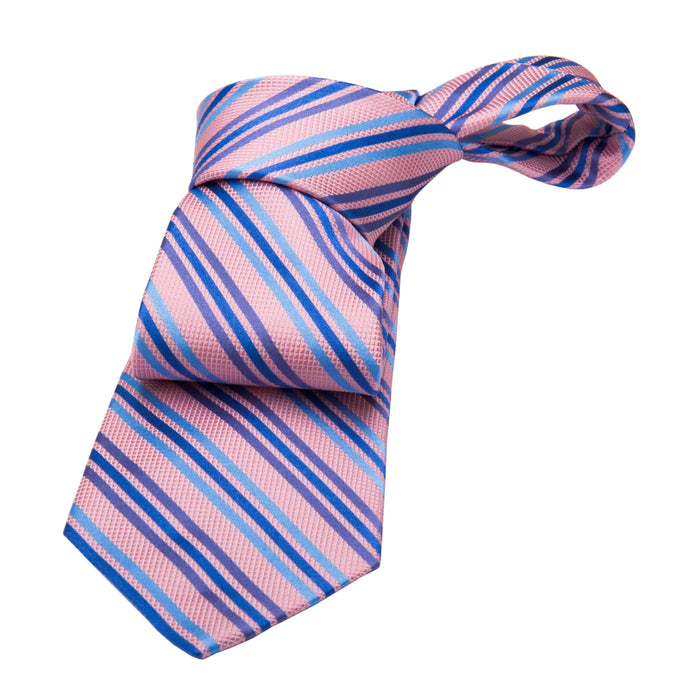 Alford Striped Silk Tie, Pink / Blue / Deep Blue