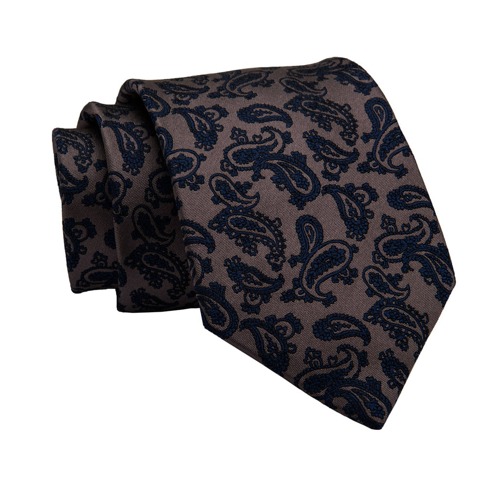 Amesbury Paisley Silk Tie, Brownish Gold / Navy