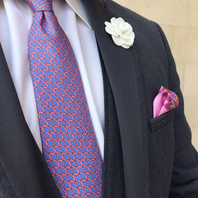 Coral / Blue Fish Printed Silk Tie