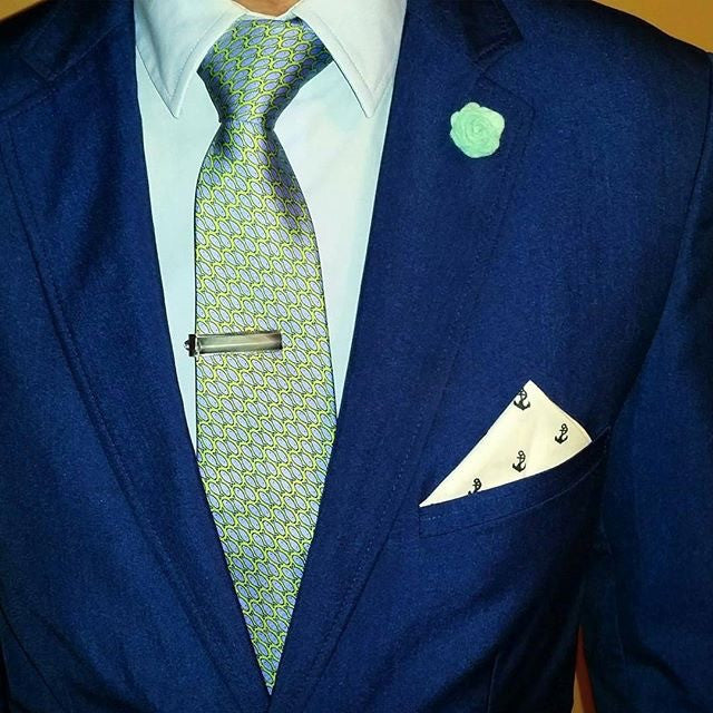 Green with Blue Fish Printed Silk Tie
