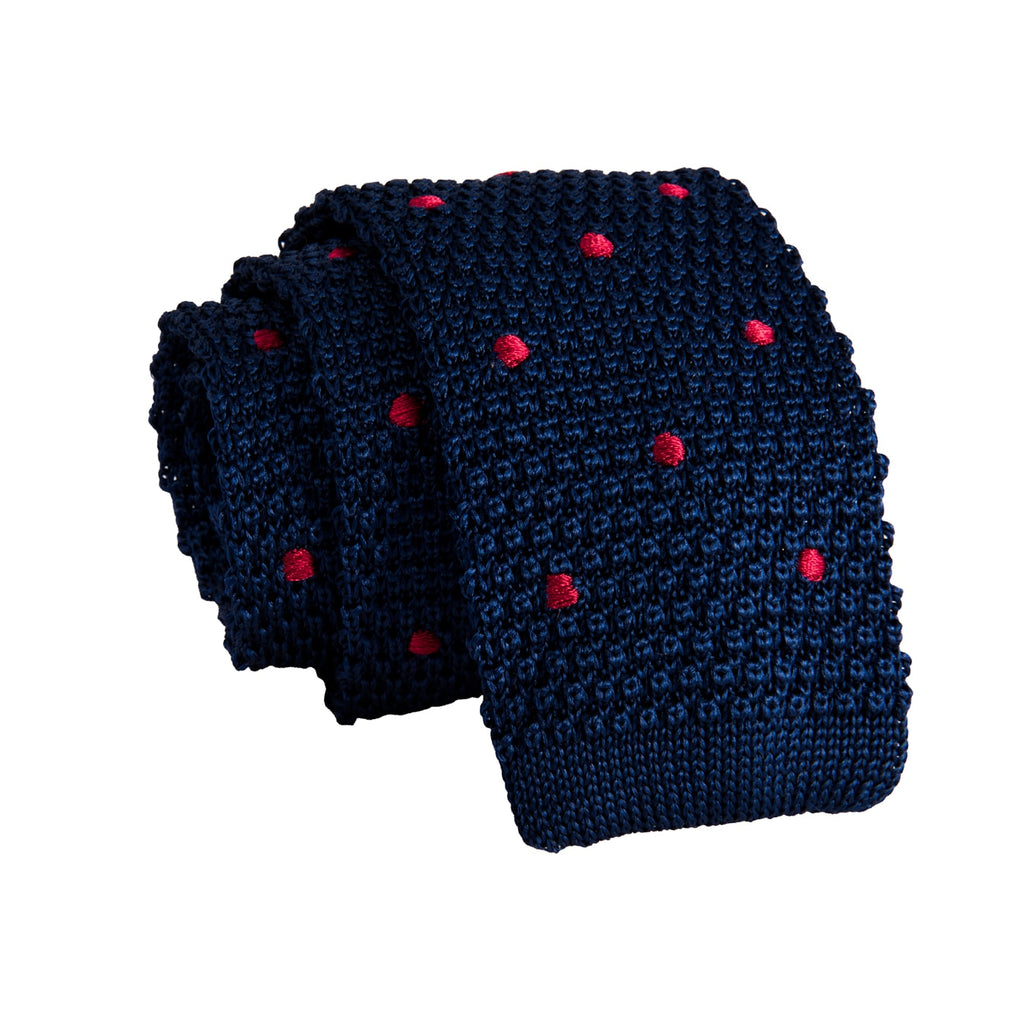 Navy Polka Dot Silk Knit Tie
