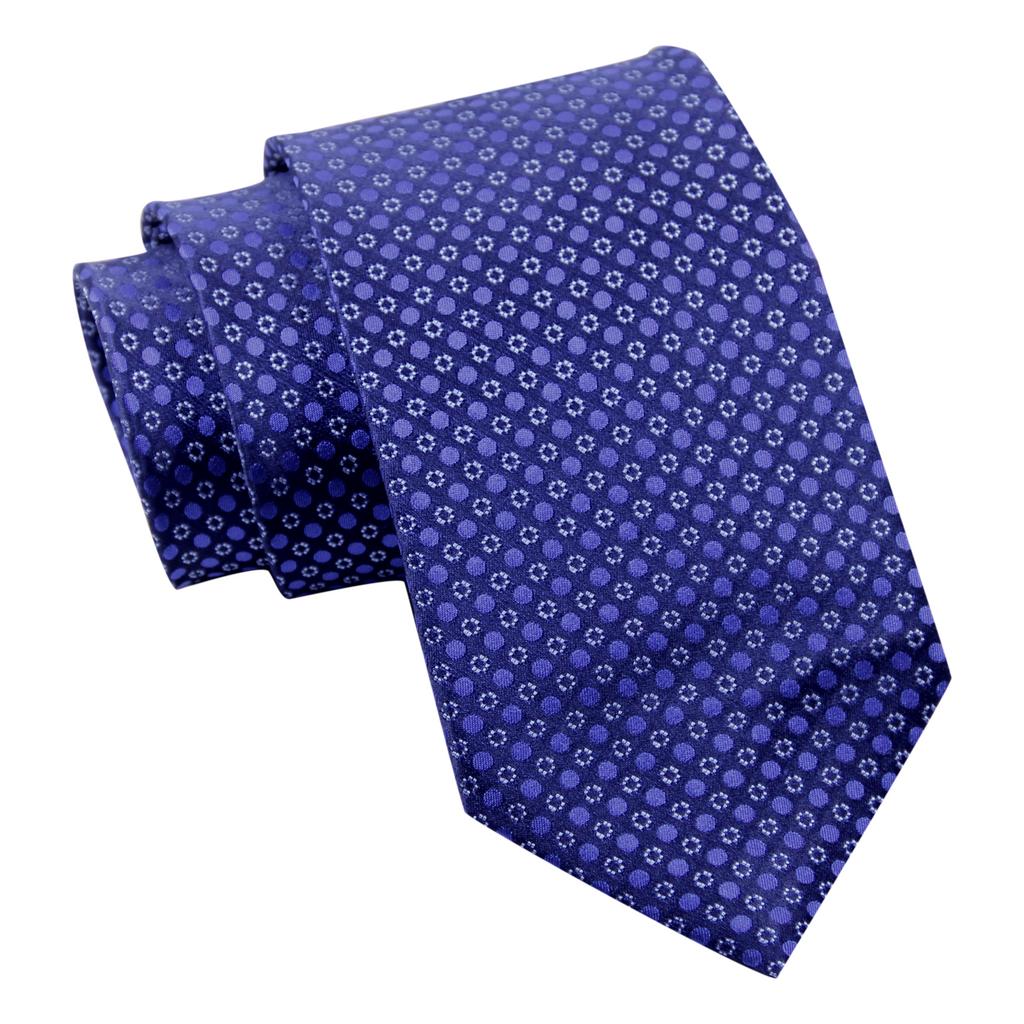 Newbury Dots Silk Tie, Navy / Blue / Light Blue