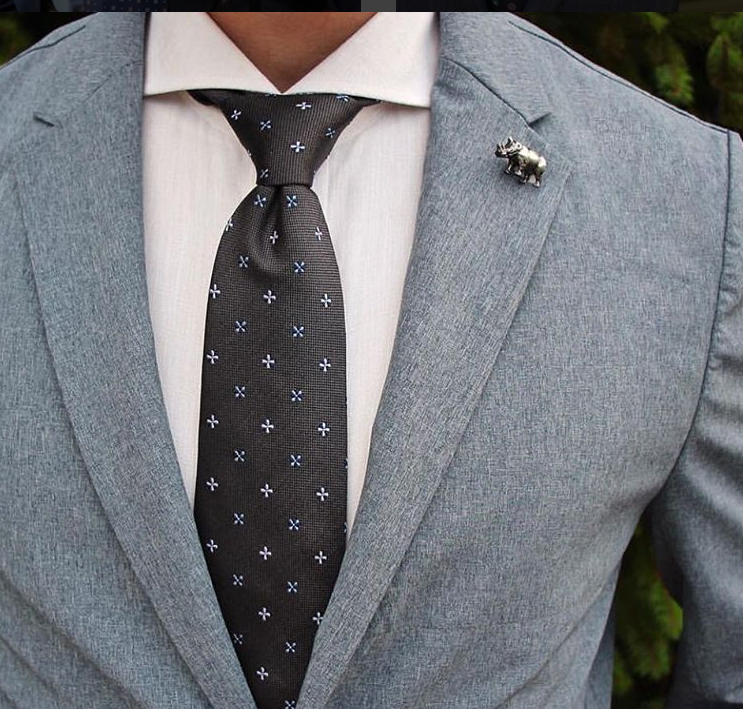 Grey Foulard / Abstract Silk Tie