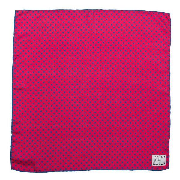 Polka Dot Silk Pocket Square Coral and Blue