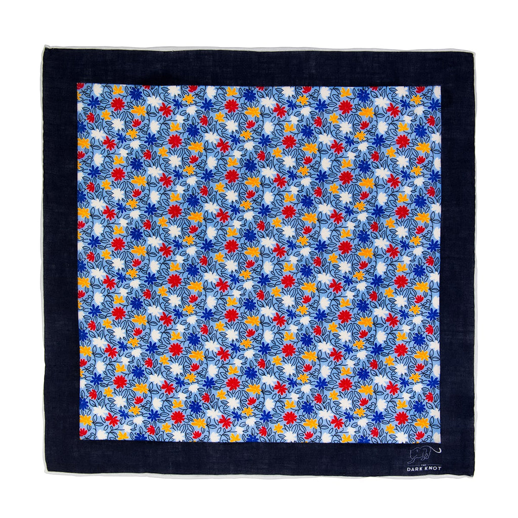 Light Blue, Red & Yellow Linen Pocket Square