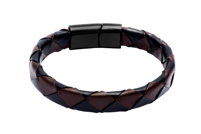 Brown & Black Leather Bracelet w/ Black Stainless Steel Clasp