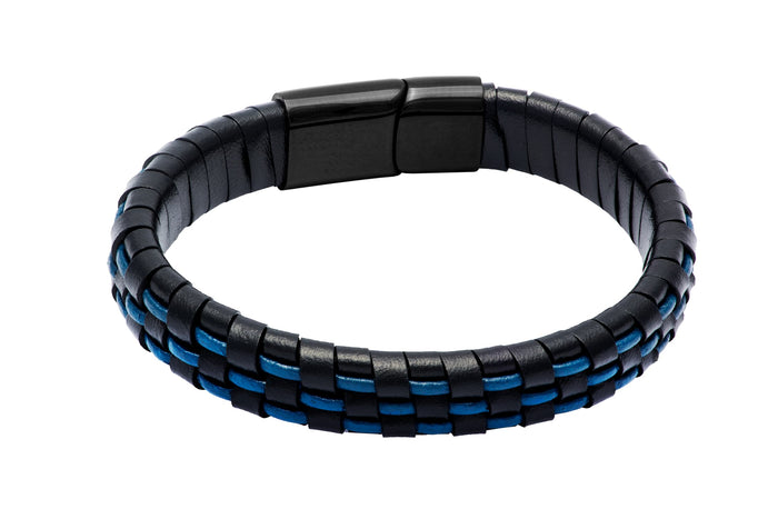Black & Blue Leather Stainless Steel Bracelet