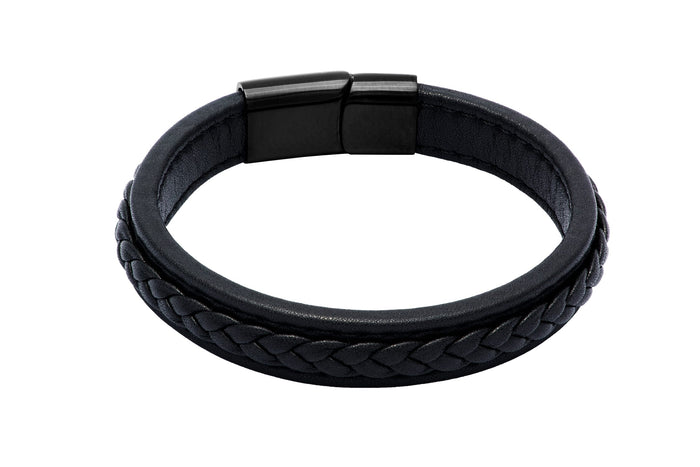 Black Leather Bracelet Stainless Steel Clasp