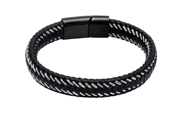 Black Leather Bracelet Silver Trimmings Stainless Steel Clasp