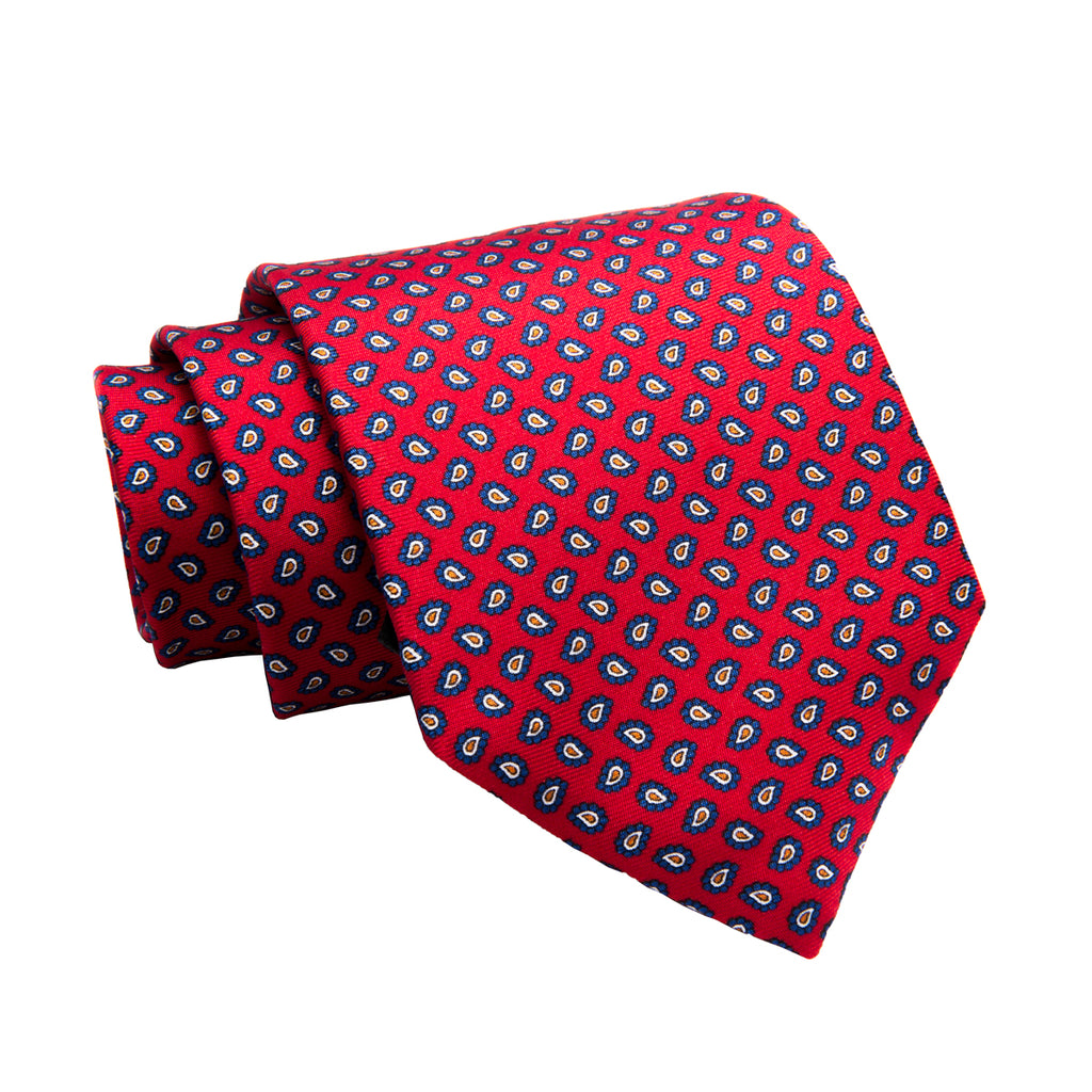Menaggio Printed Foulard Silk Tie, Red / Navy