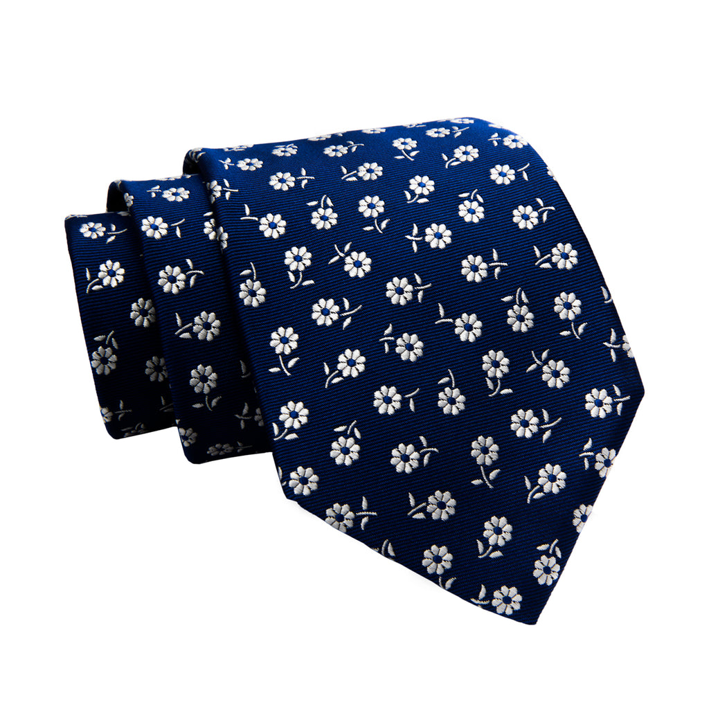 Bellano Floral Silk Tie, Blue / Silver
