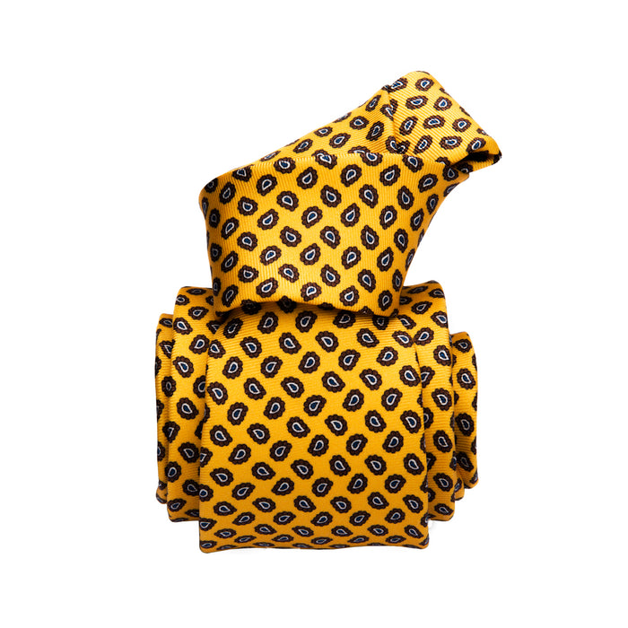 Menaggio Printed Foulard Silk Tie, Yellow / Brown