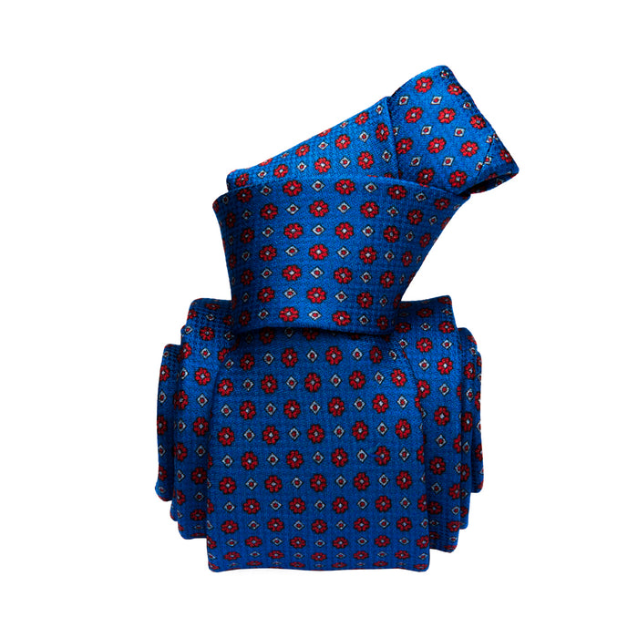 Brienno Foulard Printed Silk Tie, Blue / Red