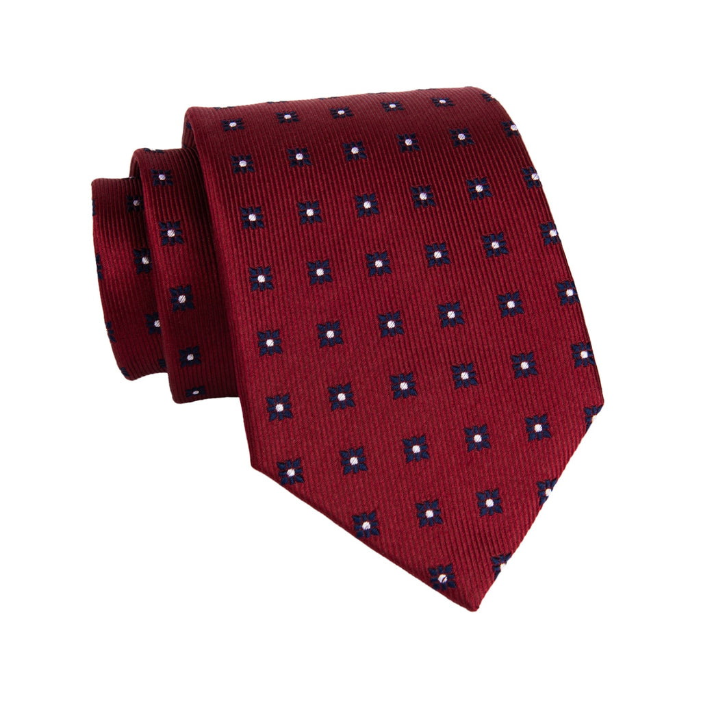Red & Navy Foulard Silk Tie