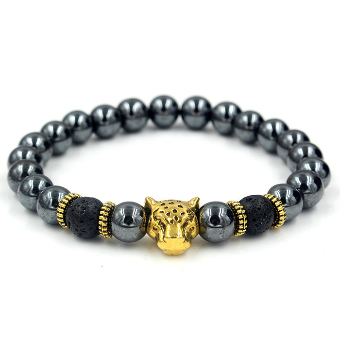 Black beaded bracelet with gold leopard's head