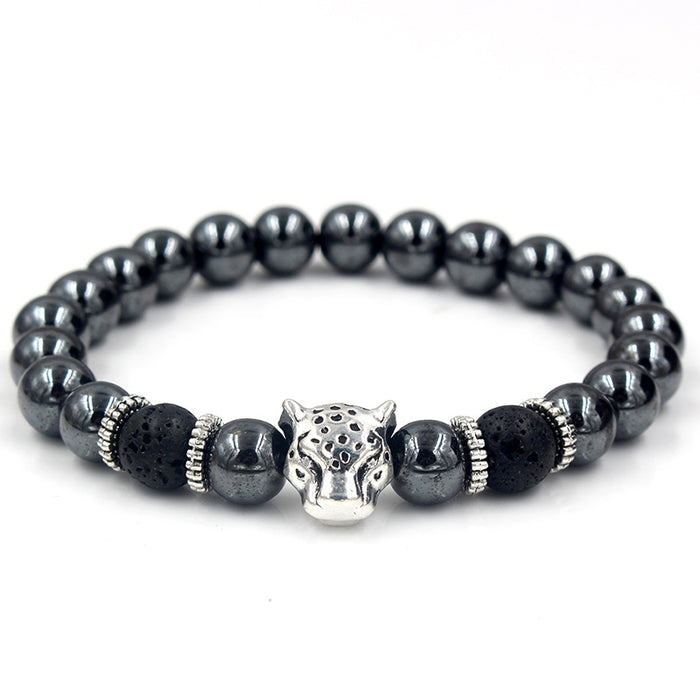 Black beaded bracelet with silver leopard's head