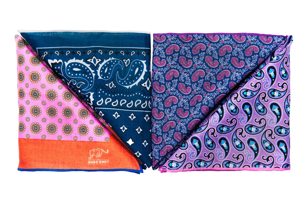 Linen Pocket Squares with contrasting hand rolled edges