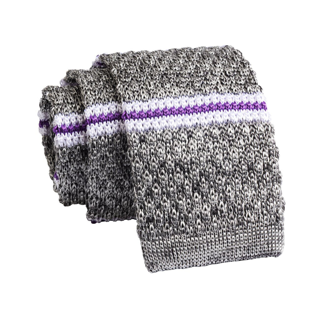Grey & Purple Stripes Knitted Silk Tie