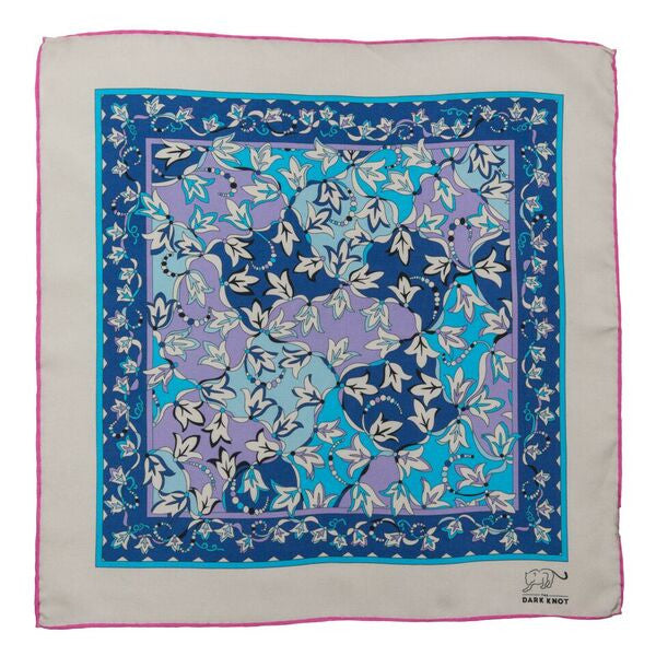 Paisley Silk Pocket Square Blue and Lilac