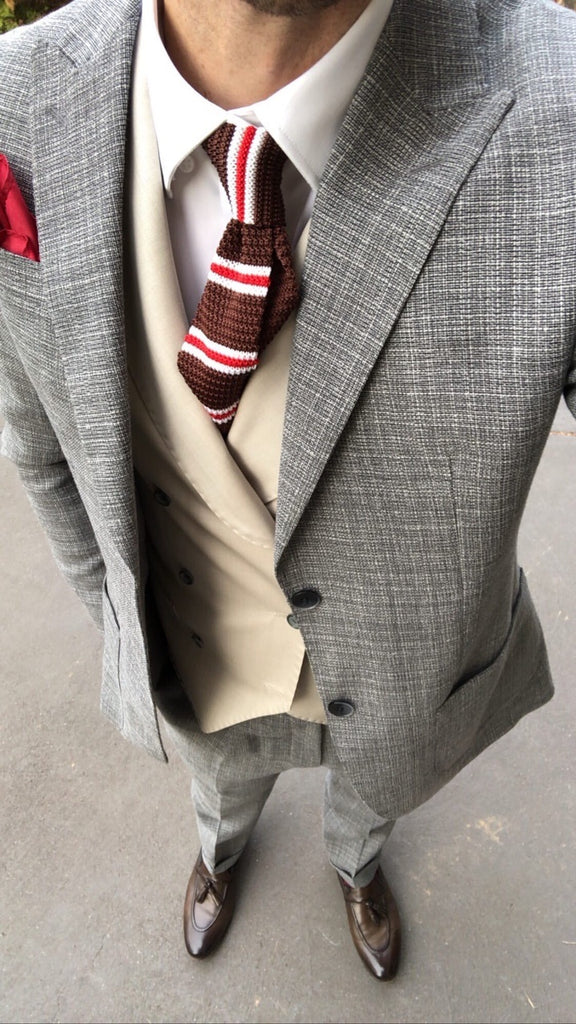 Brown Red & White Striped Silk Knit Tie