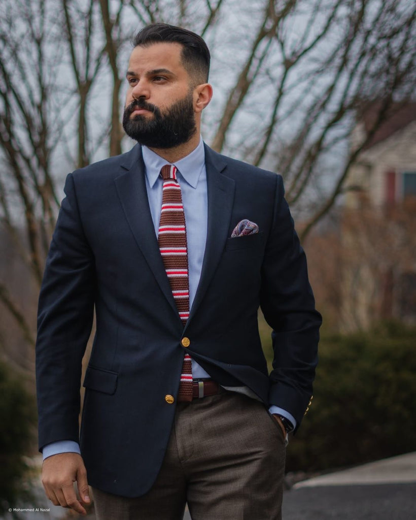 Brown & Red Striped Silk Knit Tie