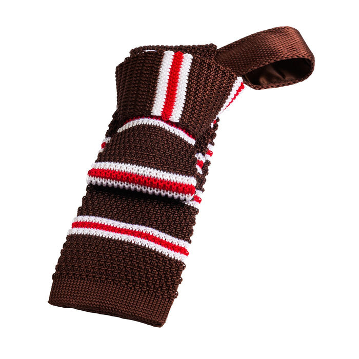 Brown & Red Stripes Knitted Silk Tie