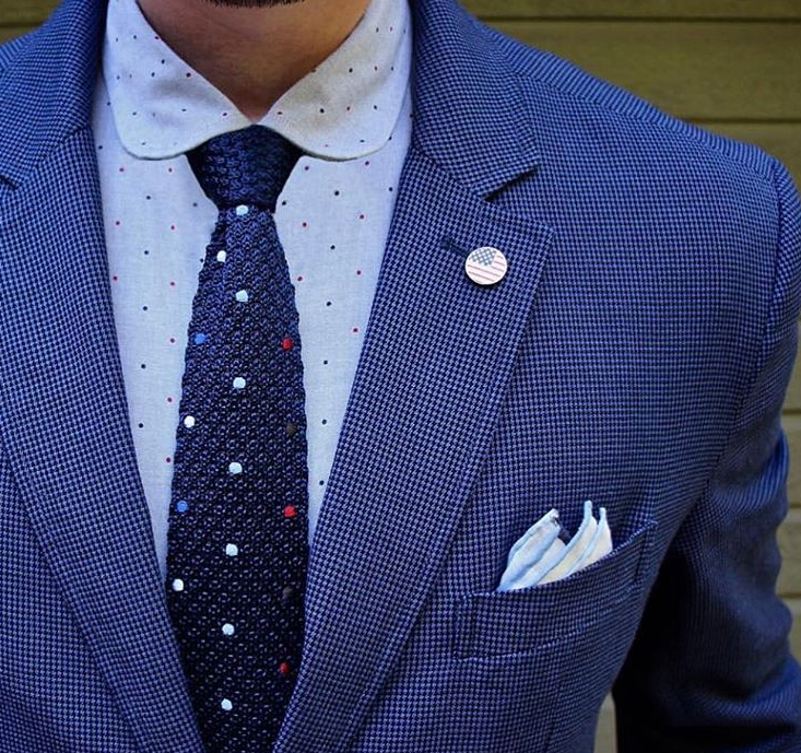 Multicolored Polka Dot Silk Knit Tie