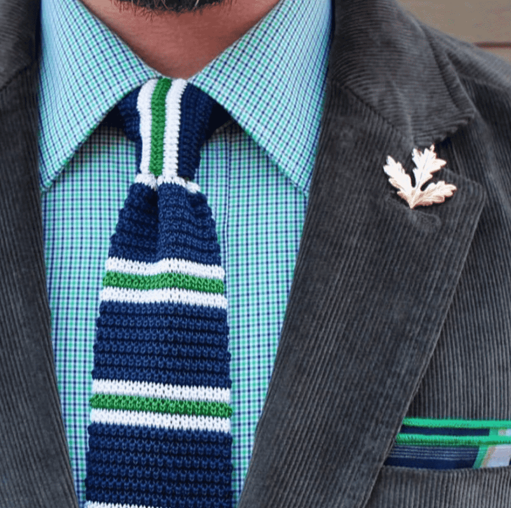 Navy & Green Stripes Silk Knit Tie
