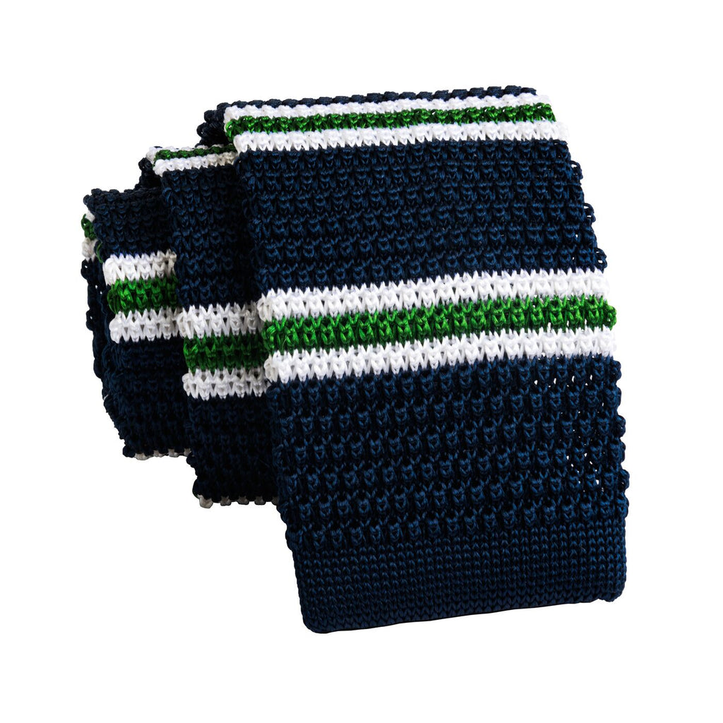 Navy & Green Stripes Knitted Silk Tie