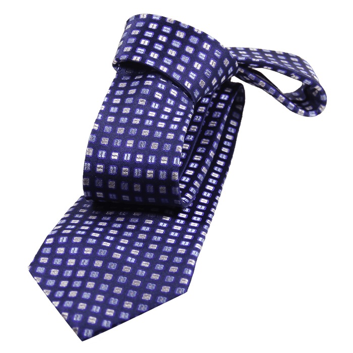Navy Abstract Squares Silk Tie