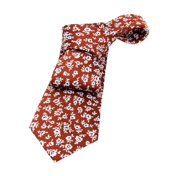 Silver & Orange Floral Silk Tie