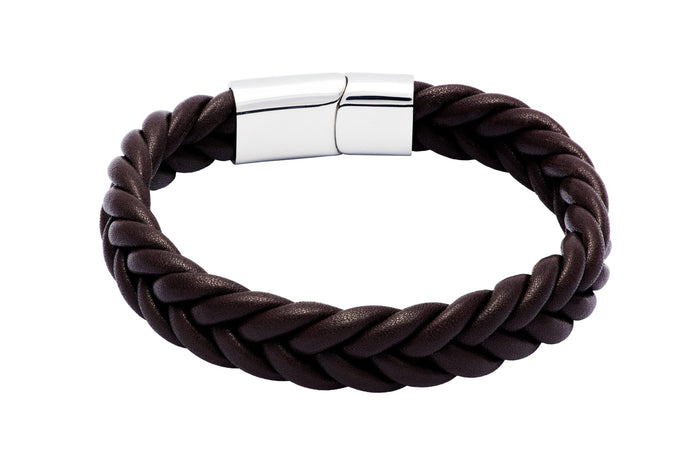 Brown Rope Chain Leather Bracelet Stainless Steel Clasp