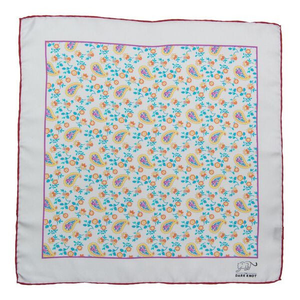 Cream & Blue Paisley Silk Pocket Square