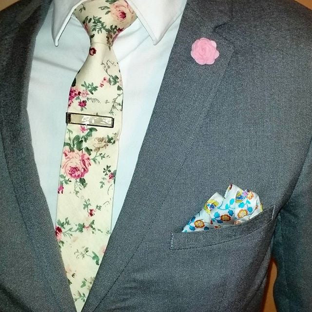 Cream and Light Blue Paisley Silk Pocket Square